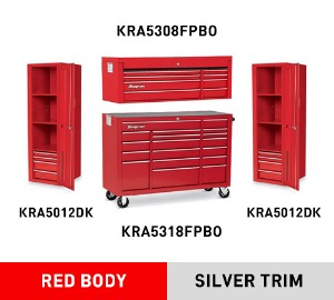 "KRA5308FPBO Top Chest, Double Bank, 8 Drawers, 53"" Wide 탑체스트 + KRA5318FPBO 53"" 18 Drawer Triple Bank Heritage Series Roll Cab 툴박스 + KRA5012DK Locker, 4 Drawers, 3 Shelves 라커 세트"