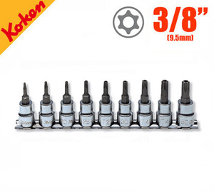 "KOKEN RS3025/9-HOLE 3/8"" TORX Bit Socket with Hole (9 pcs) 코켄 3/8"" 홀형 별비트 소켓 레일세트 (9 pcs)"