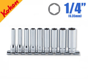"KOKEN RS2300A/9 1/4"" Drive Deep Socket Set, 6-point (9 pcs) 코켄 1/4"" 육각 딥 소켓 세트 (9 pcs)"