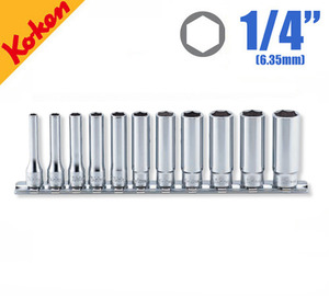 "KOKEN RS2300M/11 1/4"" Drive Deep Socket Set, 6-point (11 pcs) 코켄 1/4"" 육각 딥 소켓 세트 (11 pcs)"
