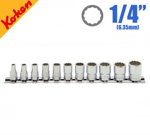 "KOKEN RS2405M/11 1/4"" Drive 12-Point Socket Set (11 pcs) 코켄 1/4"" 12각 핸드소켓 레일 세트 (11 pcs)"