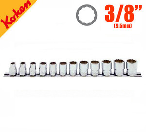 "KOKEN RS3405M/12 3/8"" Drive 12-Point Socket Set (12 pcs) 코켄 3/8"" 12각 핸드소켓 레일 세트 (12 pcs)"