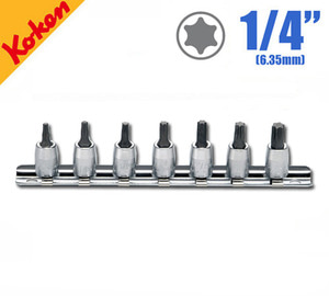 "KOKEN RS2025/7-L28 Torx Bit Socket Set (7 pcs) 코켄 1/4"" 별비트 소켓 레일세트 (7 pcs)"