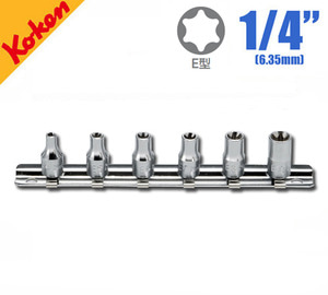 "KOKEN RS2425/6 Torx Socket Set (6 pcs) 코켄 1/4"" 별소켓 레일세트 (6 pcs)"