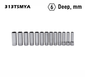 "313TSMYA 1/2"" Drive 6-Point Metric Flank Drive® Deep Socket Set (12-24 mm) (13 pcs) 스냅온 1/2"" 드라이브 6각 미리 딥 소켓 세트 (12-24 mm) (13 pcs)"