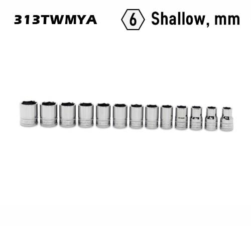 "313TWMYA 1/2"" Drive 6-Point Metric Flank Drive® Shallow Socket Set (12-24 mm) (13 pcs) 스냅온 1/2"" 드라이브 6각 미리 소켓 세트 (12-24 mm) (13 pcs)"