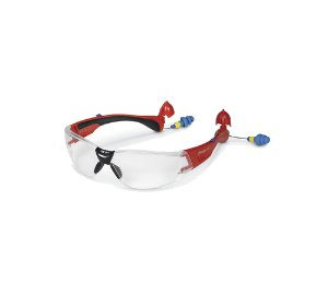 GLASS70RCEAR Construction Model Safety Glasses with Built-in Ear Plugs (Red Frame) 스냅온 귀마개 내장 보호 안경 (레드 프레임 / 클리어 렌즈)
