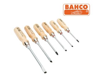 BAHCO 9710/S6 Slotted/Phillips Nut Driver Set with Wooden Handle 바코 우드핸들 십자/일자 드라이버 세트