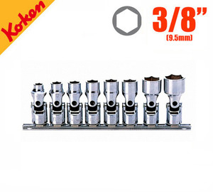 "KOKEN RS3440M/8 Universal Socket Rail Set (8pcs) 코켄 3/8"" 유니버셜 소켓 레일세트 (8pcs)"